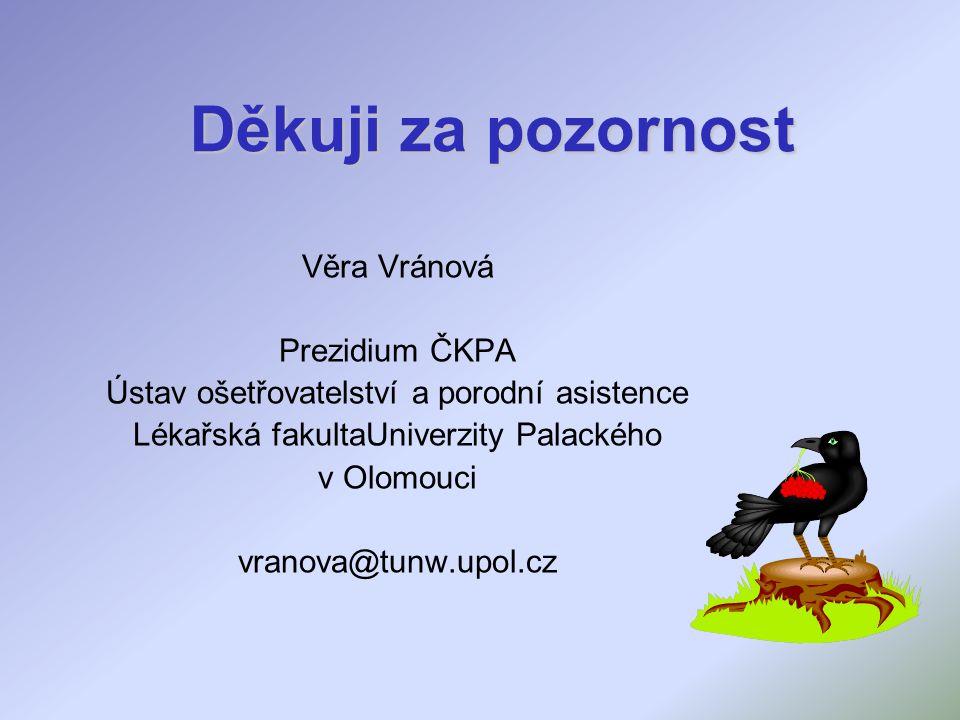 Děkuji za pozornost Věra Vránová Prezidium ČKPA Ústav ošetřovatelství a porodní asistence Lékařská fakultaUniverzity Palackého v Olomouci vranova@tunw.upol.cz