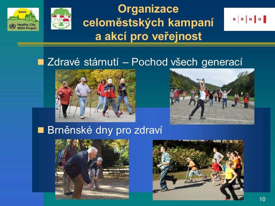 10 Brněnské dny pro zdraví Zdravé stárnutí – Pochod všech generací Organizace celoměstských kampaní a akcí pro veřejnost