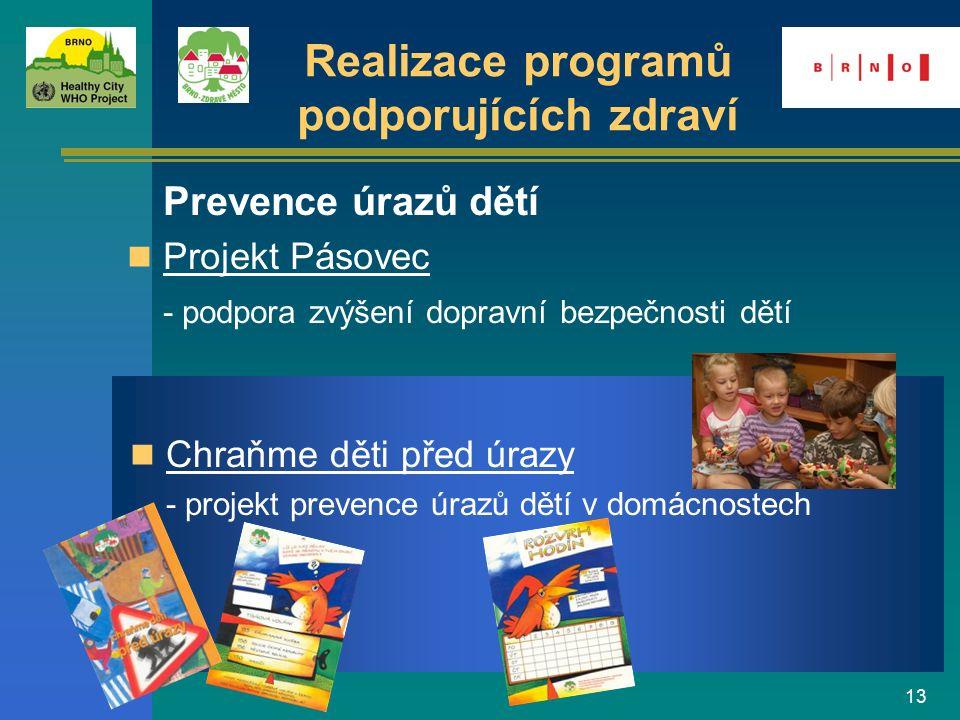 13 Realizace programů podporujících zdraví Prevence úrazů dětí Projekt Pásovec - podpora zvýšení dopravní bezpečnosti dětí Chraňme děti před úrazy - p