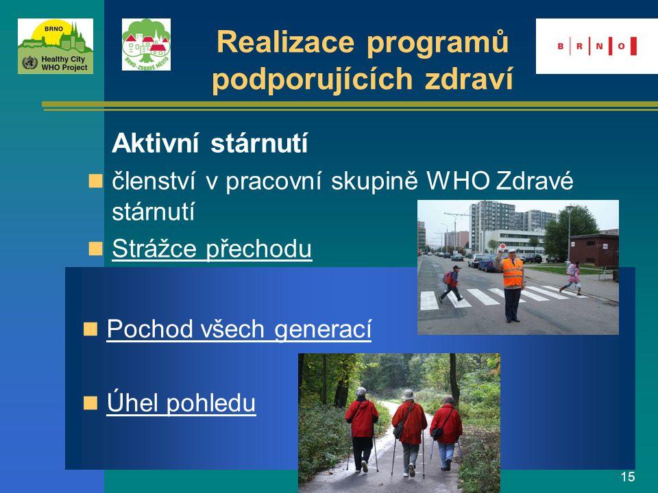 15 Aktivní stárnutí členství v pracovní skupině WHO Zdravé stárnutí Strážce přechodu Pochod všech generací Úhel pohledu Realizace programů podporující