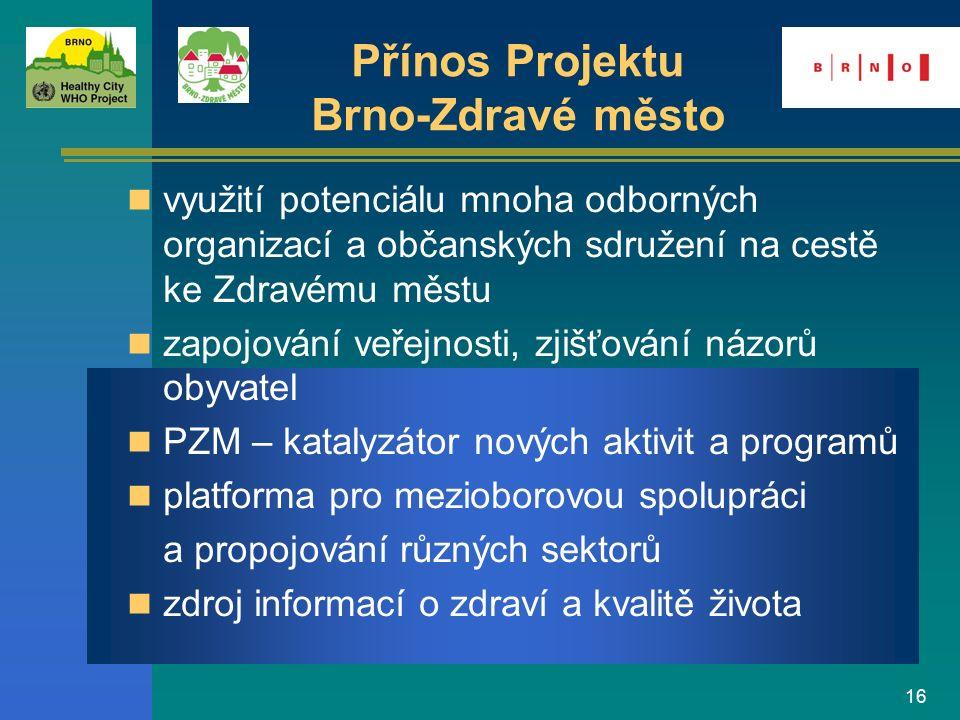 16 využití potenciálu mnoha odborných organizací a občanských sdružení na cestě ke Zdravému městu zapojování veřejnosti, zjišťování názorů obyvatel PZ
