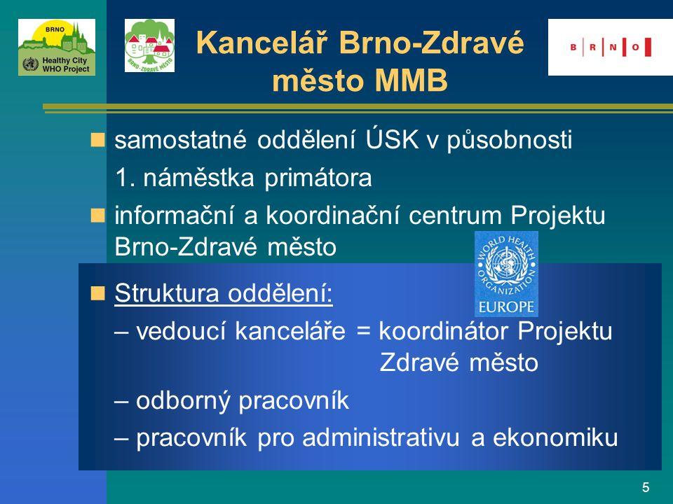 16 využití potenciálu mnoha odborných organizací a občanských sdružení na cestě ke Zdravému městu zapojování veřejnosti, zjišťování názorů obyvatel PZM – katalyzátor nových aktivit a programů platforma pro mezioborovou spolupráci a propojování různých sektorů zdroj informací o zdraví a kvalitě života Přínos Projektu Brno-Zdravé město