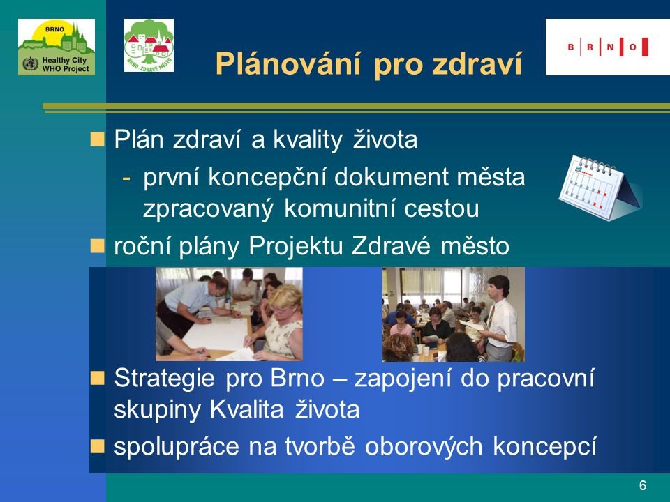 17 Přínos Projektu Brno-Zdravé město přenos priorit PZM do aktivit ostatních odborů (prorodinná politika, bezpečnost v MŠ …) inspirace pro spolupráci s veřejností a dalšími organizacemi (CIVITAS, Brněnské dny pro Zemi) spolupráce s Odborem zdraví – silné partnerství pro zdraví v Brně