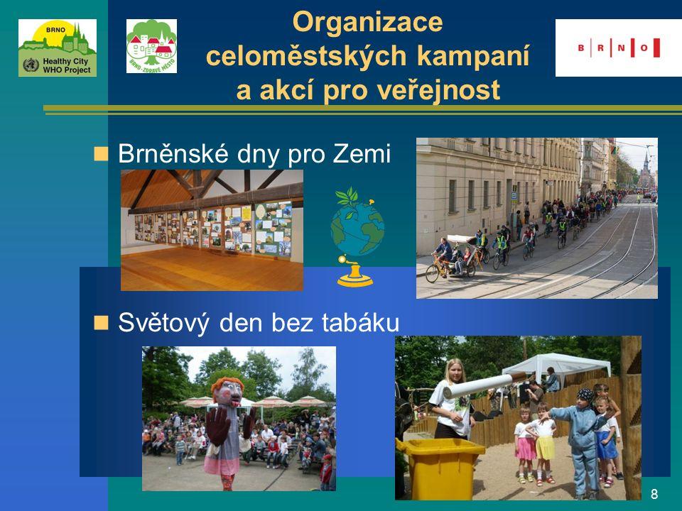 8 Organizace celoměstských kampaní a akcí pro veřejnost Světový den bez tabáku Brněnské dny pro Zemi