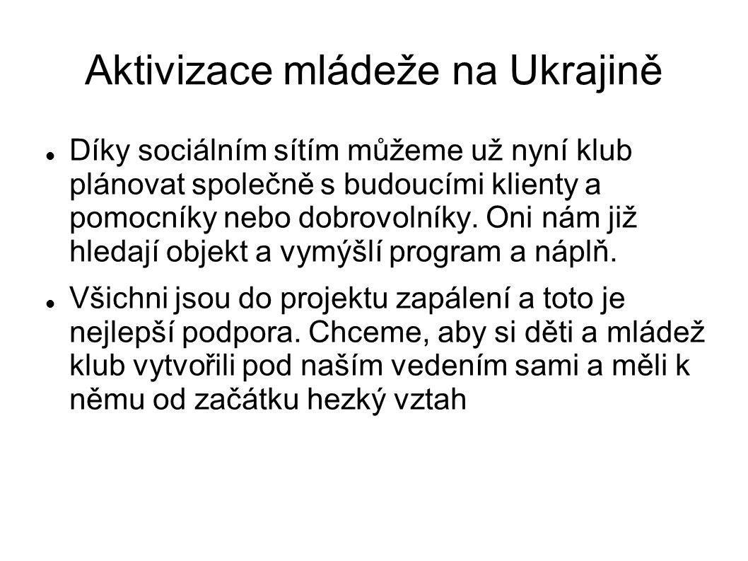 Aktivizace mládeže na Ukrajině Díky sociálním sítím můžeme už nyní klub plánovat společně s budoucími klienty a pomocníky nebo dobrovolníky.