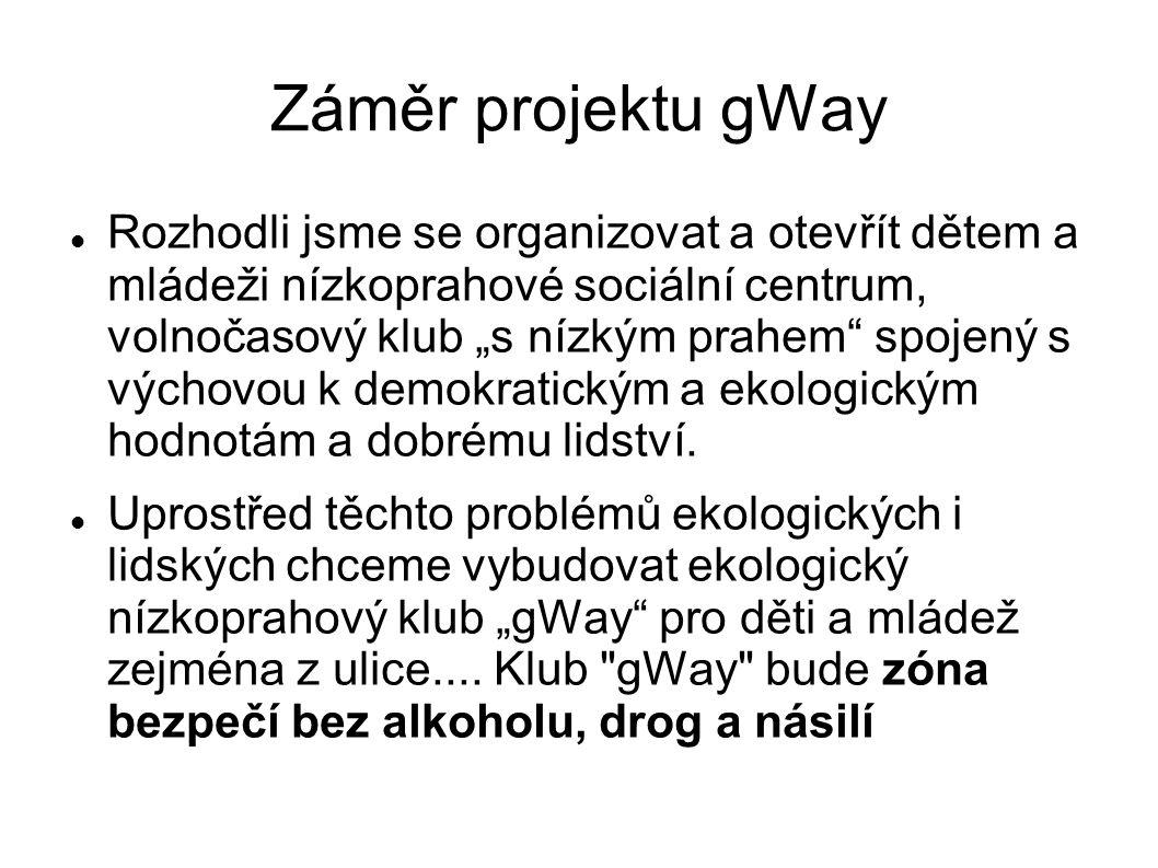 """Záměr projektu gWay Rozhodli jsme se organizovat a otevřít dětem a mládeži nízkoprahové sociální centrum, volnočasový klub """"s nízkým prahem spojený s výchovou k demokratickým a ekologickým hodnotám a dobrému lidství."""