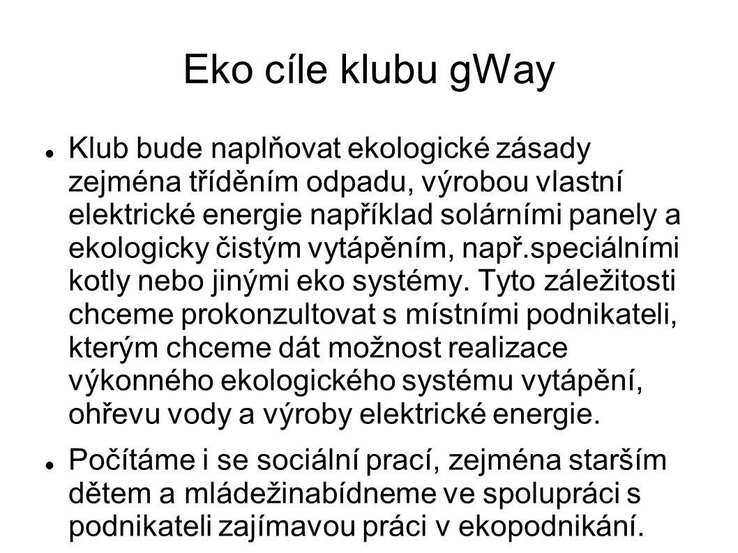 Eko cíle klubu gWay Klub bude naplňovat ekologické zásady zejména tříděním odpadu, výrobou vlastní elektrické energie například solárními panely a ekologicky čistým vytápěním, např.speciálními kotly nebo jinými eko systémy.