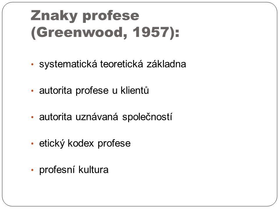 Znaky profese (Greenwood, 1957): systematická teoretická základna autorita profese u klientů autorita uznávaná společností etický kodex profese profesní kultura