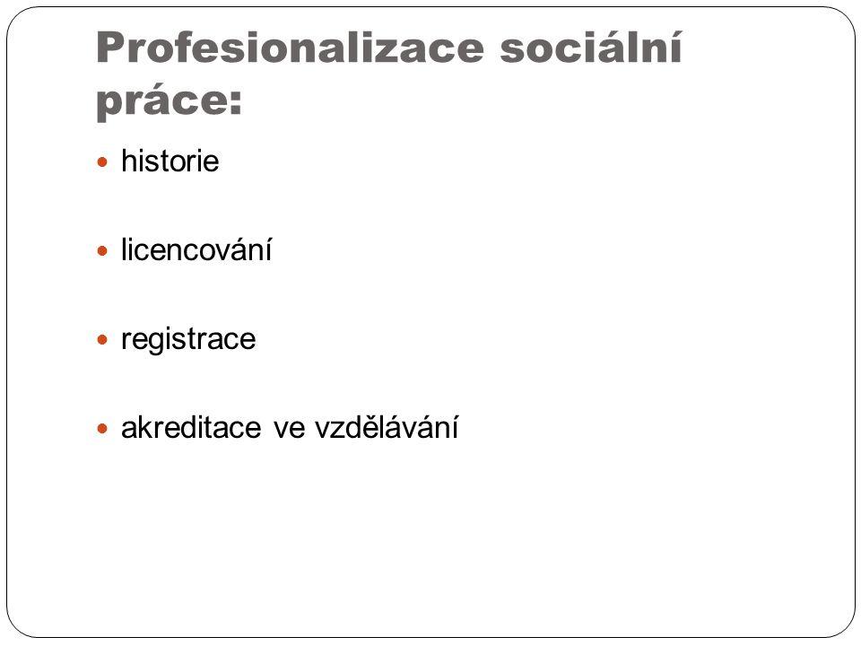 Profesionalizace sociální práce: historie licencování registrace akreditace ve vzdělávání