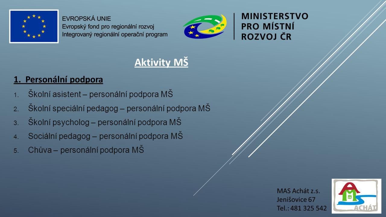 Aktivity MŠ 1. Personální podpora 1. Školní asistent – personální podpora MŠ 2.