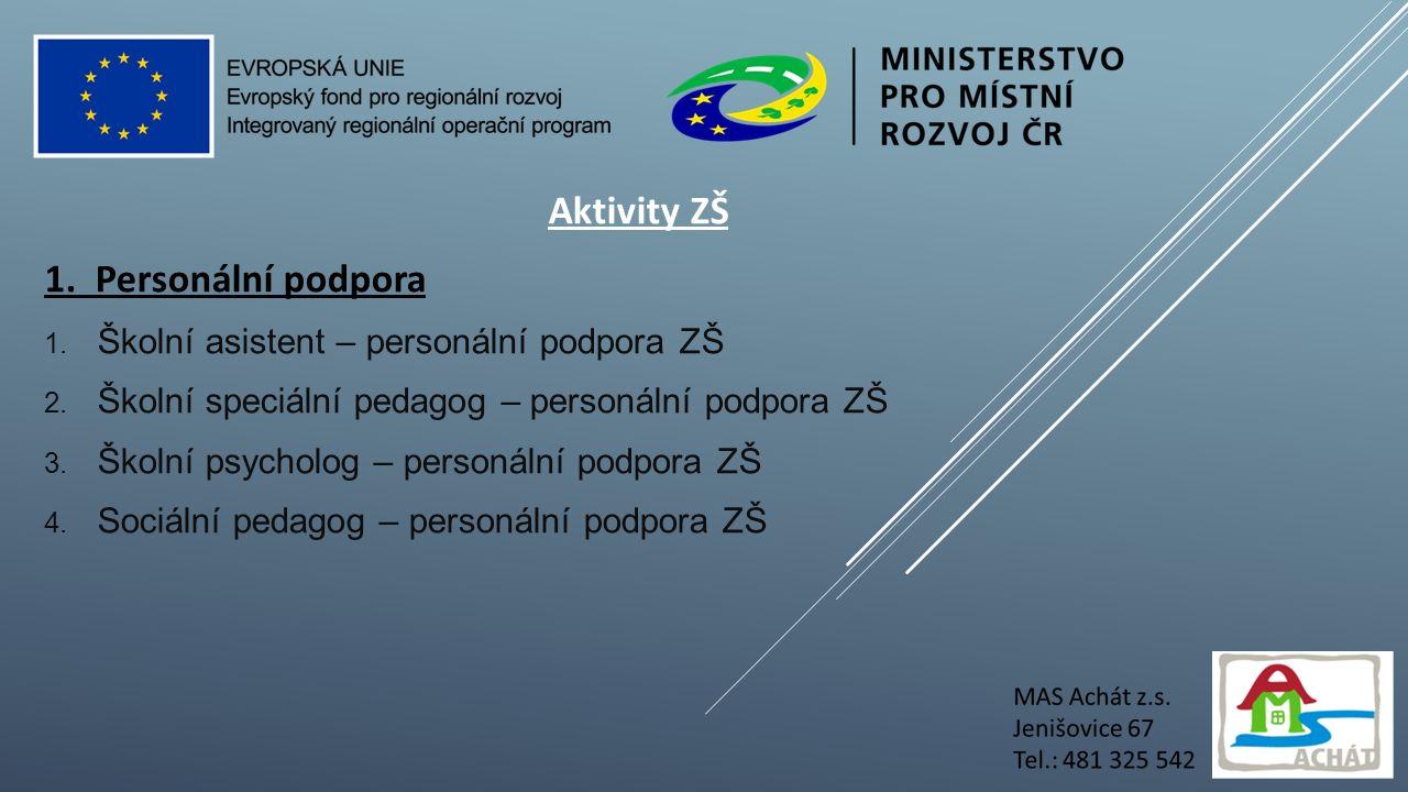 Aktivity ZŠ 1. Personální podpora 1. Školní asistent – personální podpora ZŠ 2.