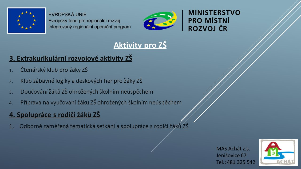Aktivity pro ZŠ 3. Extrakurikulární rozvojové aktivity ZŠ 1.