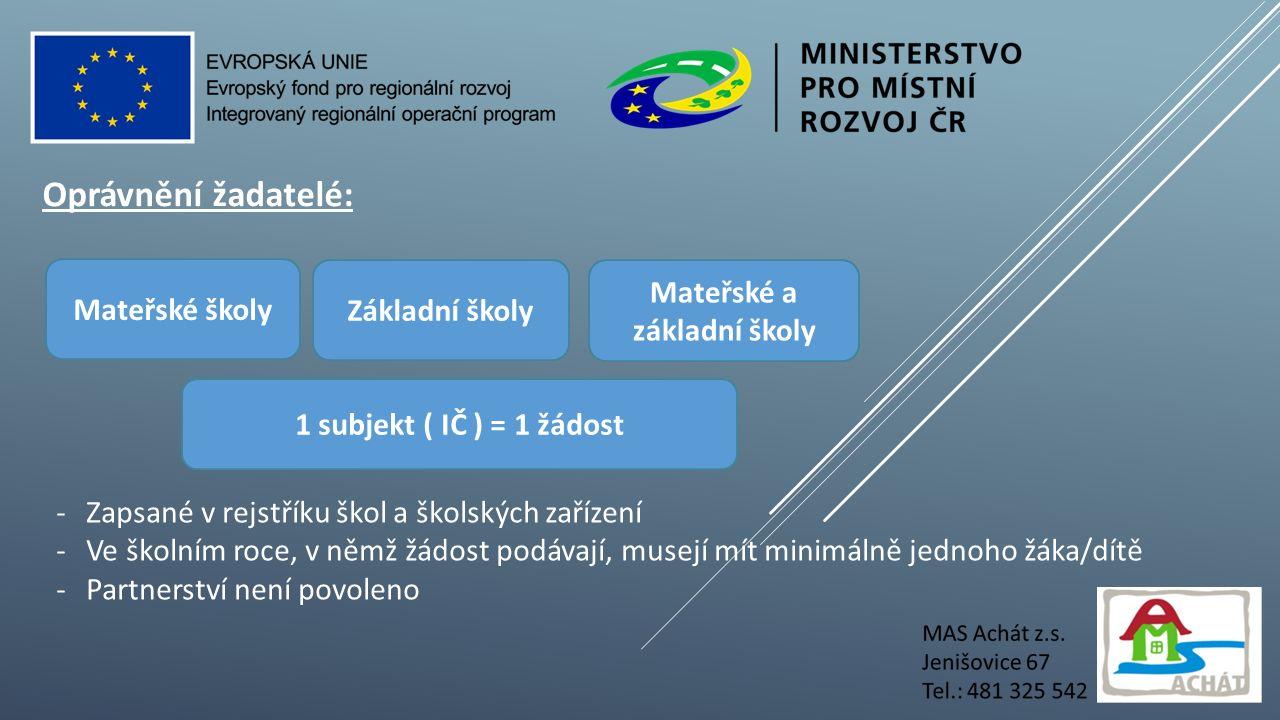 Cílové skupiny: Děti v MŠ Žáci ZŠ Pedagogičtí pracovníci v MŠ a ZŠ vč.
