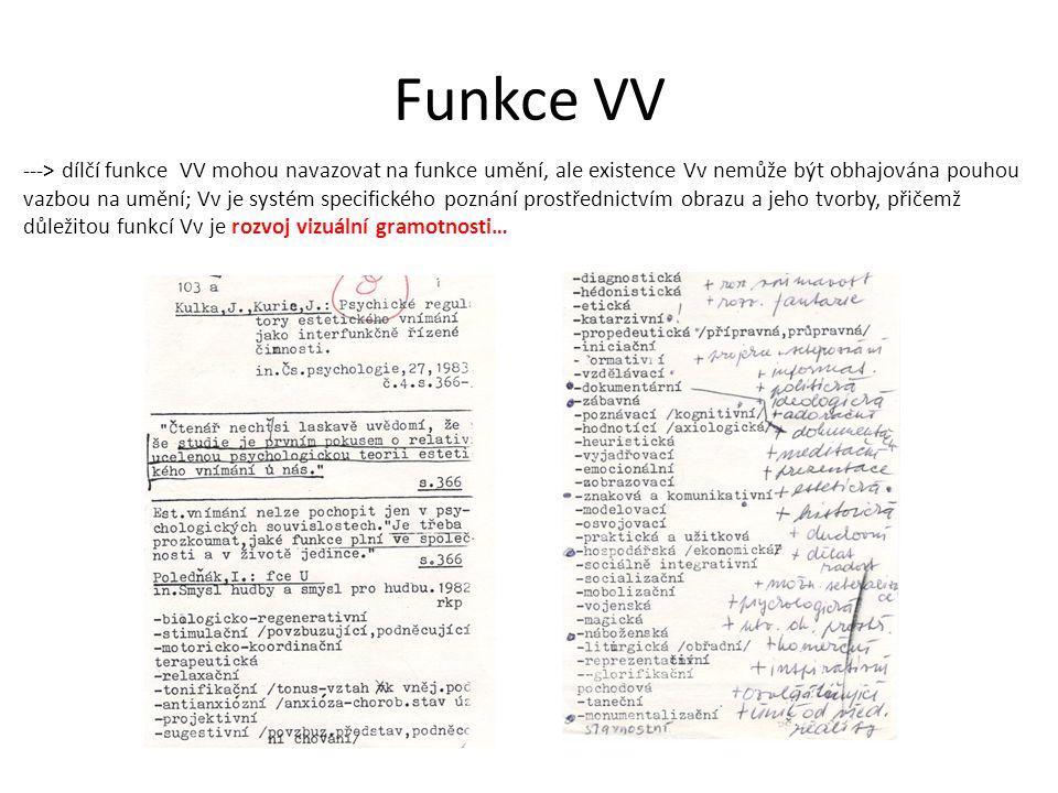 Funkce VV ---> dílčí funkce VV mohou navazovat na funkce umění, ale existence Vv nemůže být obhajována pouhou vazbou na umění; Vv je systém specifického poznání prostřednictvím obrazu a jeho tvorby, přičemž důležitou funkcí Vv je rozvoj vizuální gramotnosti…