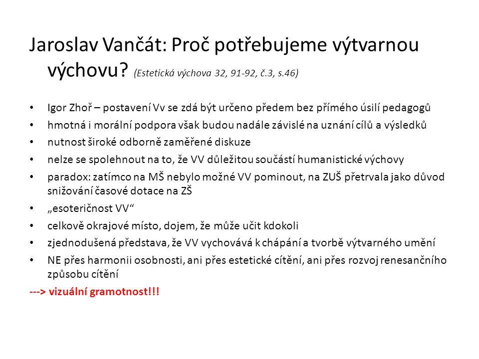 Jaroslav Vančát: Proč potřebujeme výtvarnou výchovu.