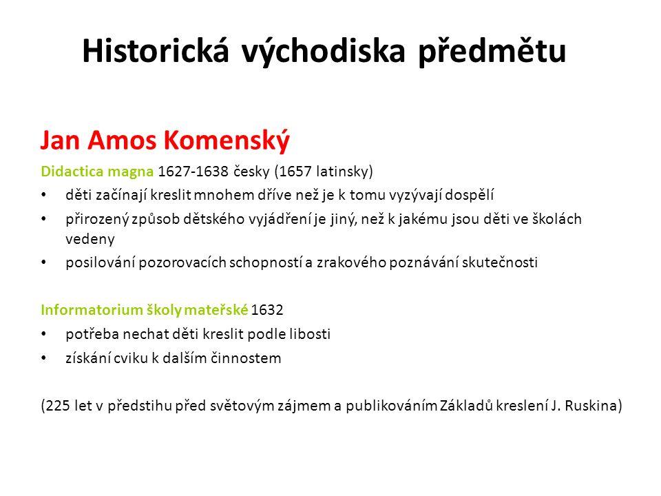 Jan Amos Komenský Didactica magna 1627-1638 česky (1657 latinsky) děti začínají kreslit mnohem dříve než je k tomu vyzývají dospělí přirozený způsob dětského vyjádření je jiný, než k jakému jsou děti ve školách vedeny posilování pozorovacích schopností a zrakového poznávání skutečnosti Informatorium školy mateřské 1632 potřeba nechat děti kreslit podle libosti získání cviku k dalším činnostem (225 let v předstihu před světovým zájmem a publikováním Základů kreslení J.