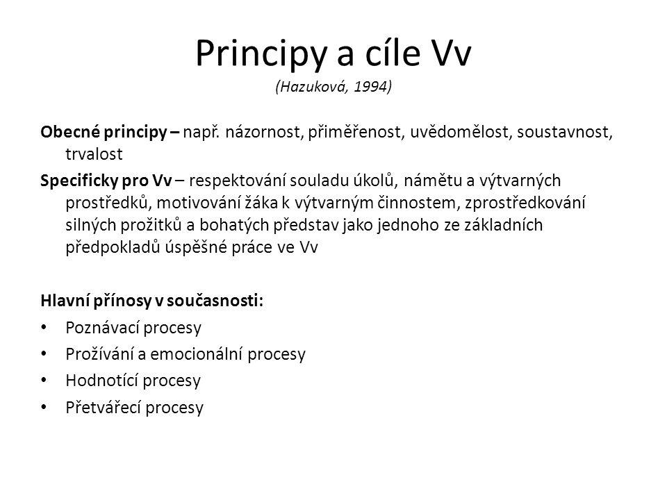 Principy a cíle Vv (Hazuková, 1994) Obecné principy – např.