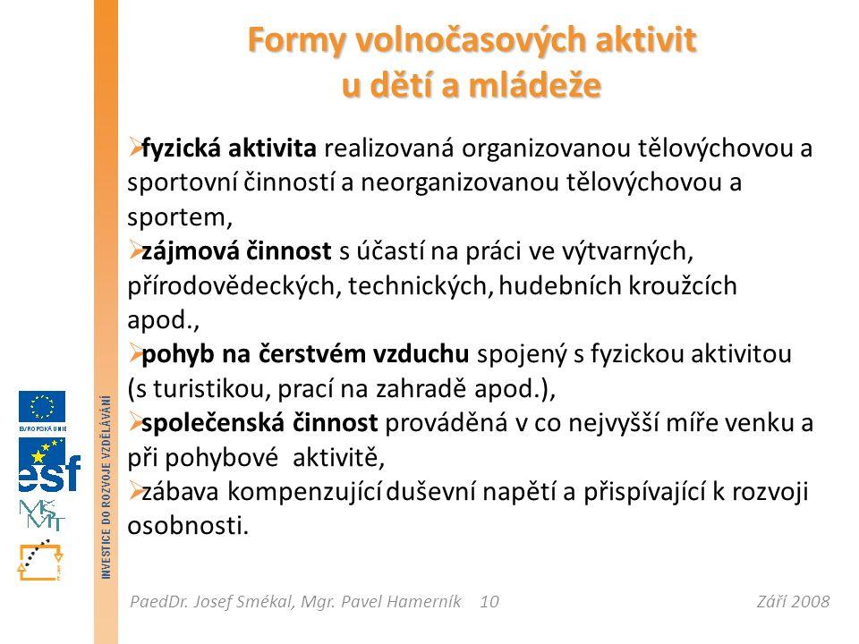 Září 2008PaedDr. Josef Smékal, Mgr. Pavel Hamerník INVESTICE DO ROZVOJE VZDĚLÁVÁNÍ 10 Formy volnočasových aktivit u dětí a mládeže  fyzická aktivita