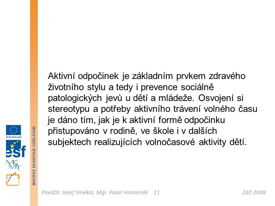 Září 2008PaedDr. Josef Smékal, Mgr. Pavel Hamerník INVESTICE DO ROZVOJE VZDĚLÁVÁNÍ 11 Aktivní odpočinek je základním prvkem zdravého životního stylu a