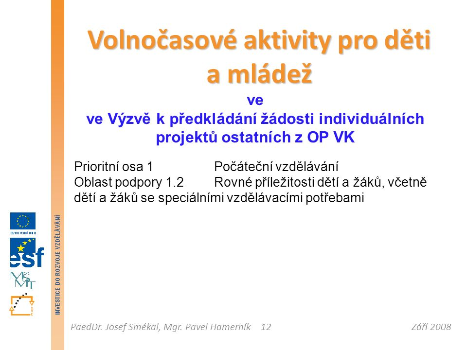 Září 2008PaedDr. Josef Smékal, Mgr. Pavel Hamerník INVESTICE DO ROZVOJE VZDĚLÁVÁNÍ 12 Volnočasové aktivity pro děti a mládež ve ve Výzvě k předkládání