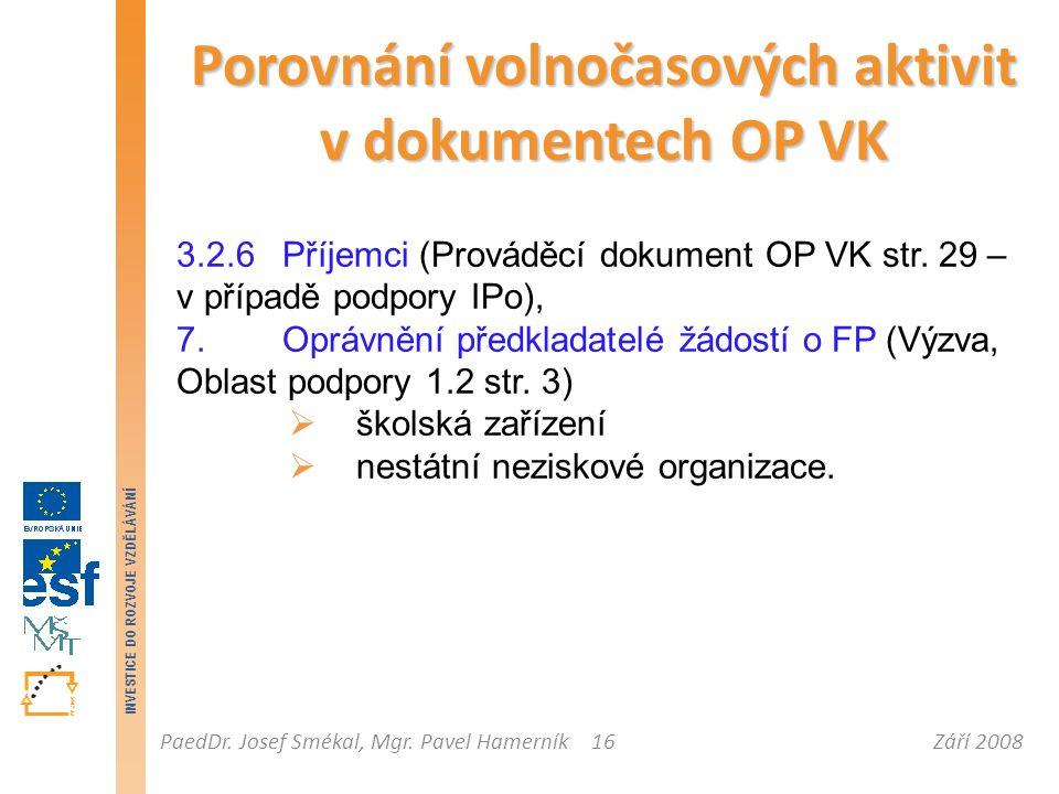 Září 2008PaedDr. Josef Smékal, Mgr. Pavel Hamerník INVESTICE DO ROZVOJE VZDĚLÁVÁNÍ 16 Porovnání volnočasových aktivit v dokumentech OP VK 3.2.6 Příjem