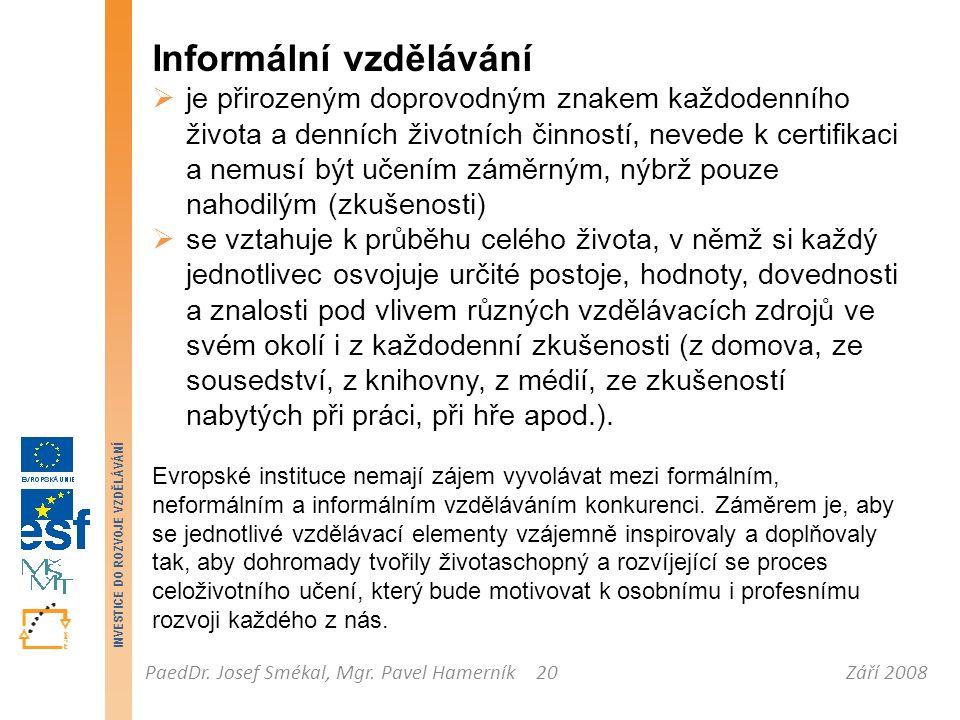 Září 2008PaedDr. Josef Smékal, Mgr. Pavel Hamerník INVESTICE DO ROZVOJE VZDĚLÁVÁNÍ 20 Informální vzdělávání  je přirozeným doprovodným znakem každode
