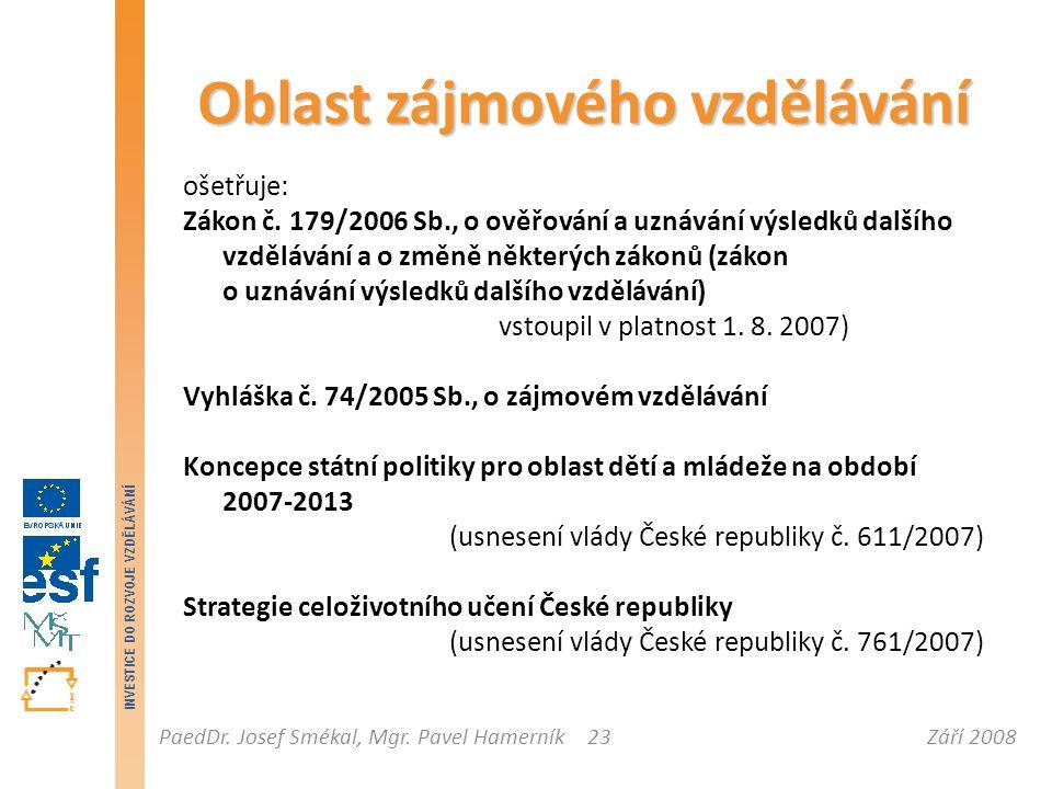 Září 2008PaedDr. Josef Smékal, Mgr. Pavel Hamerník INVESTICE DO ROZVOJE VZDĚLÁVÁNÍ 23 Oblast zájmového vzdělávání ošetřuje: Zákon č. 179/2006 Sb., o o