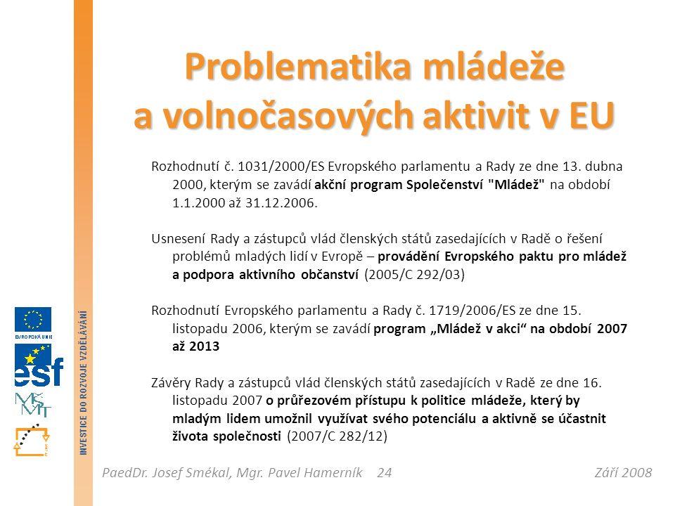 Září 2008PaedDr. Josef Smékal, Mgr. Pavel Hamerník INVESTICE DO ROZVOJE VZDĚLÁVÁNÍ 24 Problematika mládeže a volnočasových aktivit v EU Rozhodnutí č.
