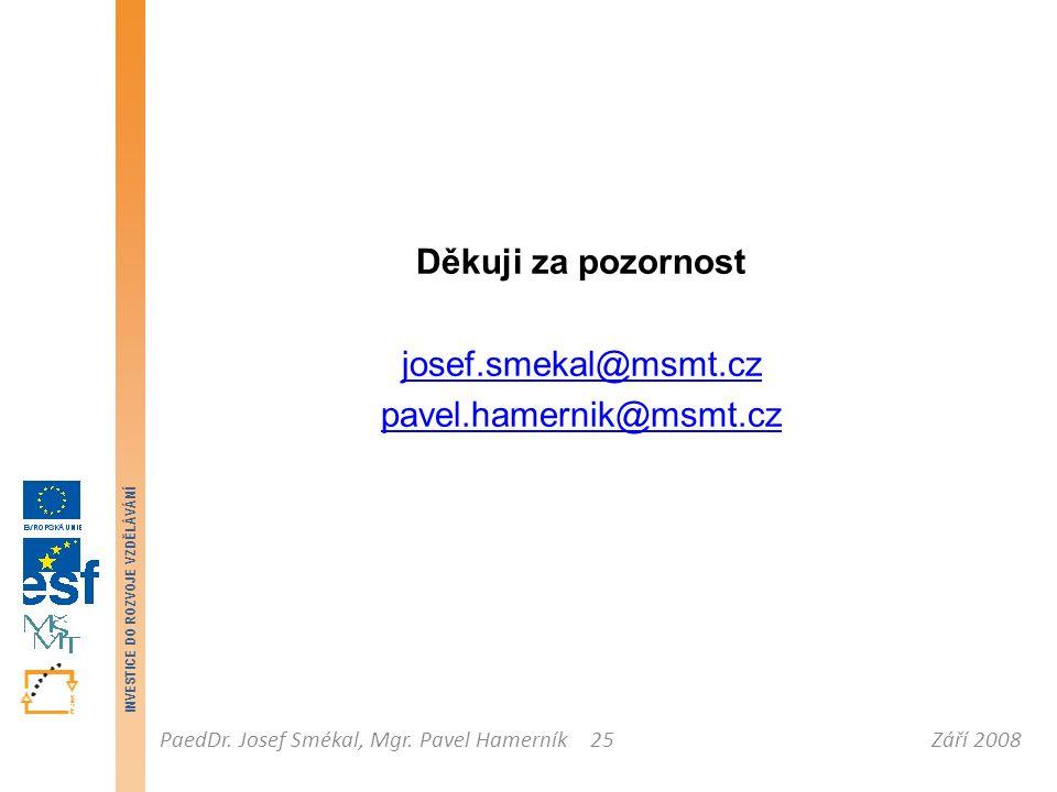 Září 2008PaedDr. Josef Smékal, Mgr. Pavel Hamerník INVESTICE DO ROZVOJE VZDĚLÁVÁNÍ 25 Děkuji za pozornost josef.smekal@msmt.cz pavel.hamernik@msmt.cz