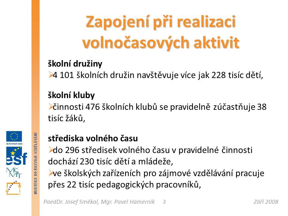 Září 2008PaedDr. Josef Smékal, Mgr. Pavel Hamerník INVESTICE DO ROZVOJE VZDĚLÁVÁNÍ 3 Zapojení při realizaci volnočasových aktivit školní družiny  4 1