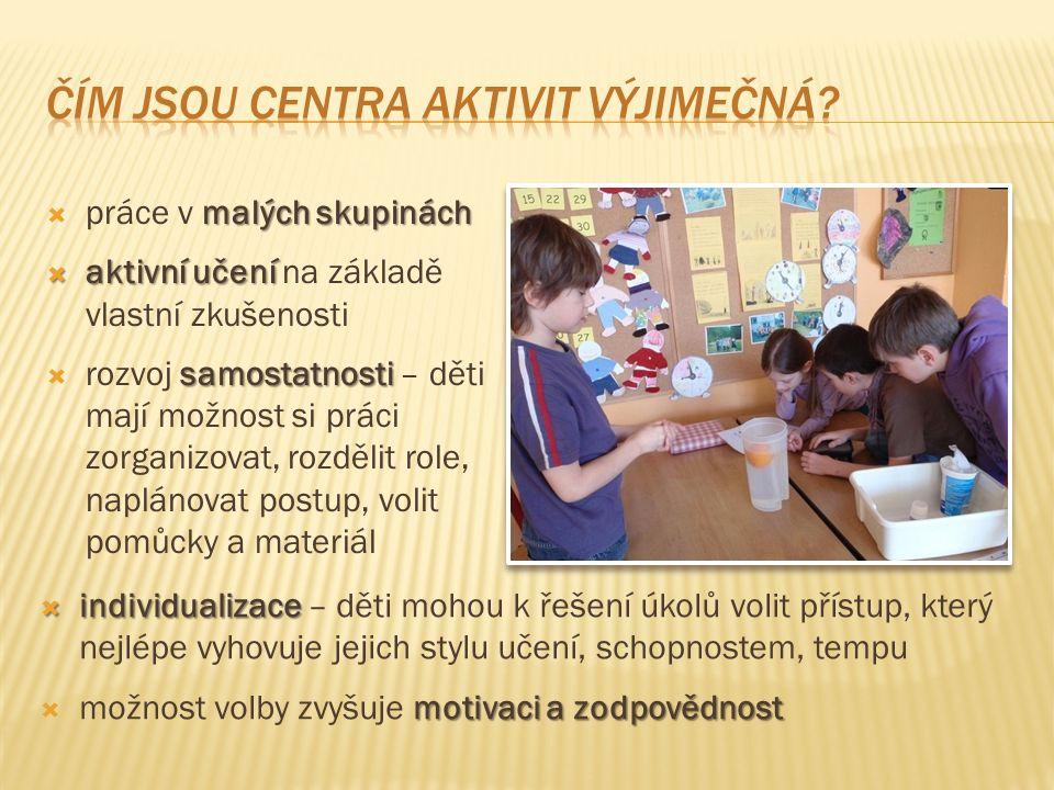 malých skupinách  práce v malých skupinách  aktivní učení  aktivní učení na základě vlastní zkušenosti samostatnosti  rozvoj samostatnosti – děti