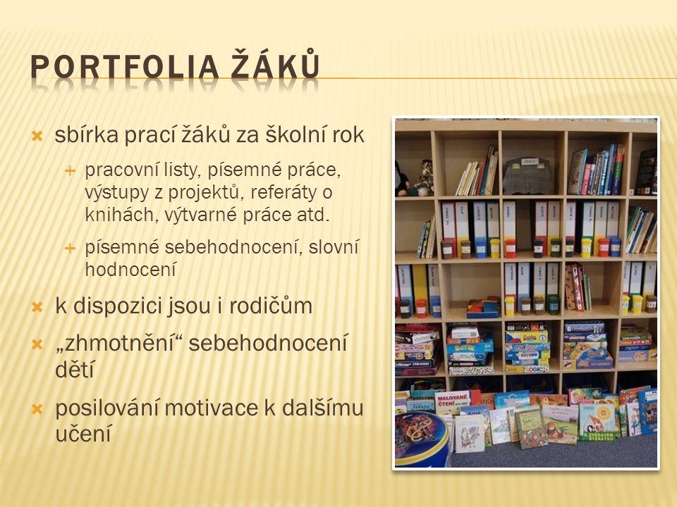  sbírka prací žáků za školní rok  pracovní listy, písemné práce, výstupy z projektů, referáty o knihách, výtvarné práce atd.  písemné sebehodnocení