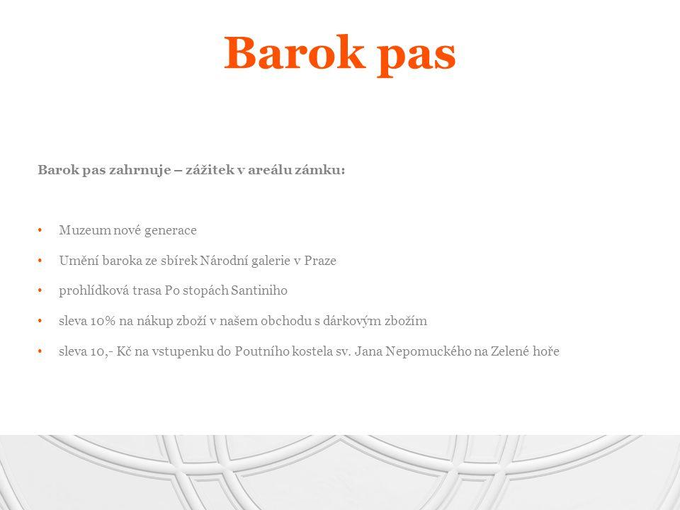 Barok pas zahrnuje – zážitek v areálu zámku: Muzeum nové generace Umění baroka ze sbírek Národní galerie v Praze prohlídková trasa Po stopách Santinih