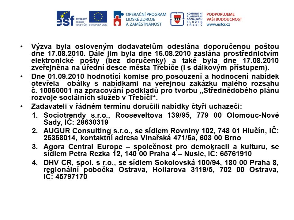 Výzva byla osloveným dodavatelům odeslána doporučenou poštou dne 17.08.2010.
