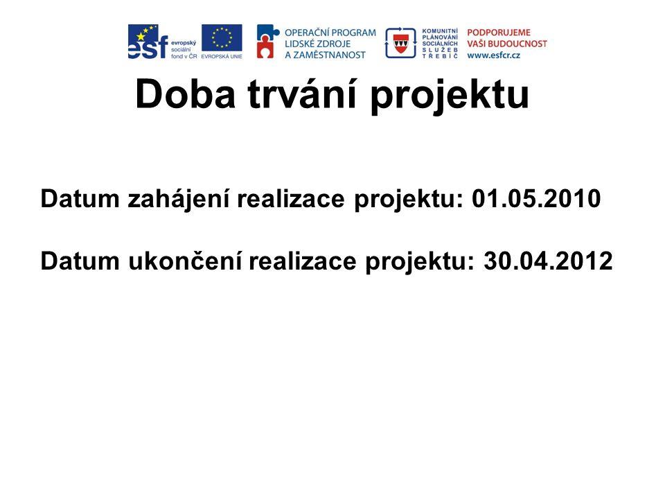 Doba trvání projektu Datum zahájení realizace projektu: 01.05.2010 Datum ukončení realizace projektu: 30.04.2012