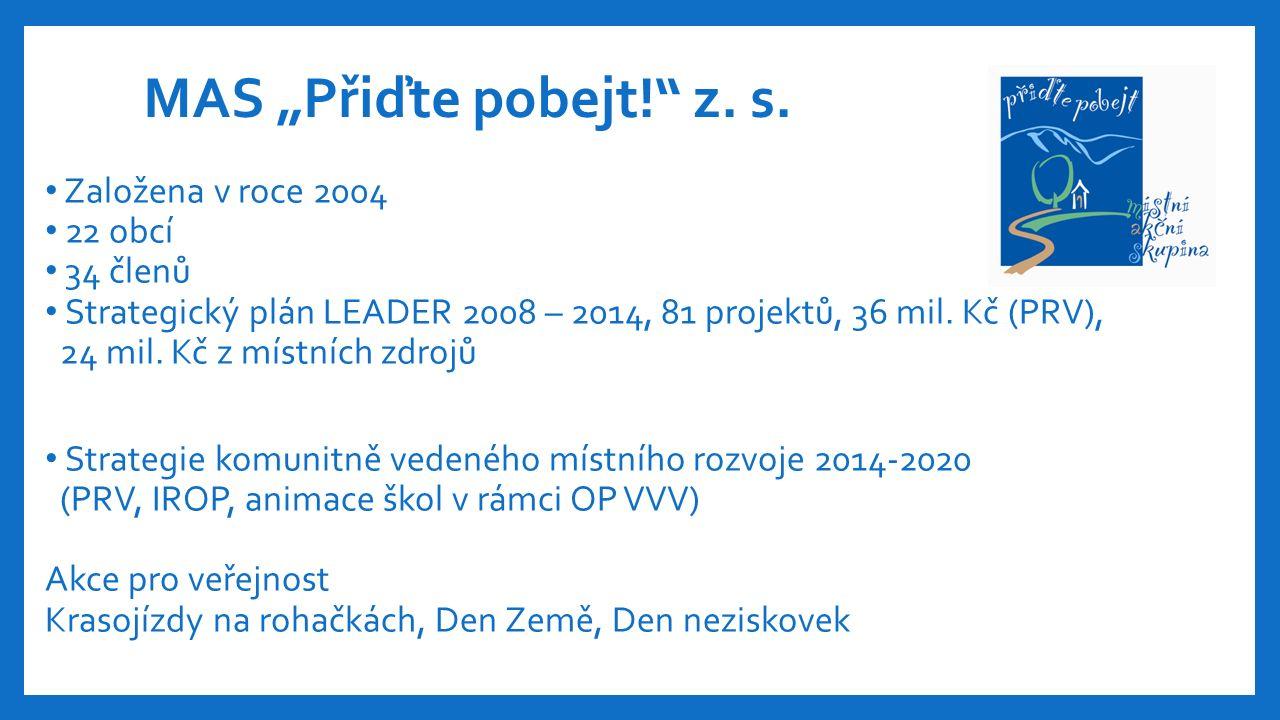 Založena v roce 2004 22 obcí 34 členů Strategický plán LEADER 2008 – 2014, 81 projektů, 36 mil.