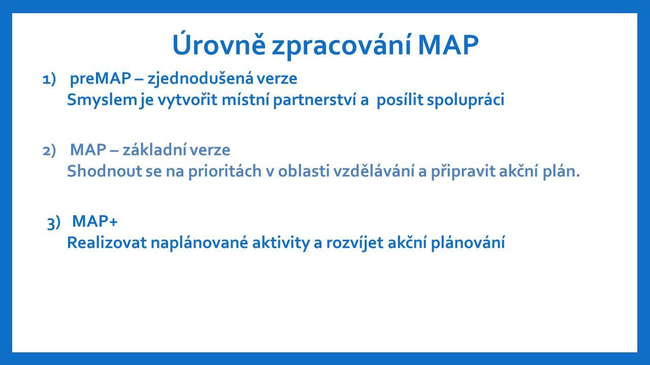 Úrovně zpracování MAP 1)preMAP – zjednodušená verze Smyslem je vytvořit místní partnerství a posílit spolupráci 2)MAP – základní verze Shodnout se na prioritách v oblasti vzdělávání a připravit akční plán.