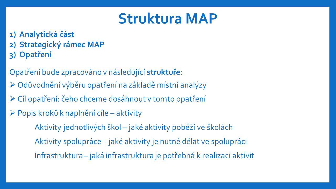 Struktura MAP 1) Analytická část 2) Strategický rámec MAP 3) Opatření Opatření bude zpracováno v následující struktuře:  Odůvodnění výběru opatření na základě místní analýzy  Cíl opatření: čeho chceme dosáhnout v tomto opatření  Popis kroků k naplnění cíle – aktivity Aktivity jednotlivých škol – jaké aktivity poběží ve školách Aktivity spolupráce – jaké aktivity je nutné dělat ve spolupráci Infrastruktura – jaká infrastruktura je potřebná k realizaci aktivit
