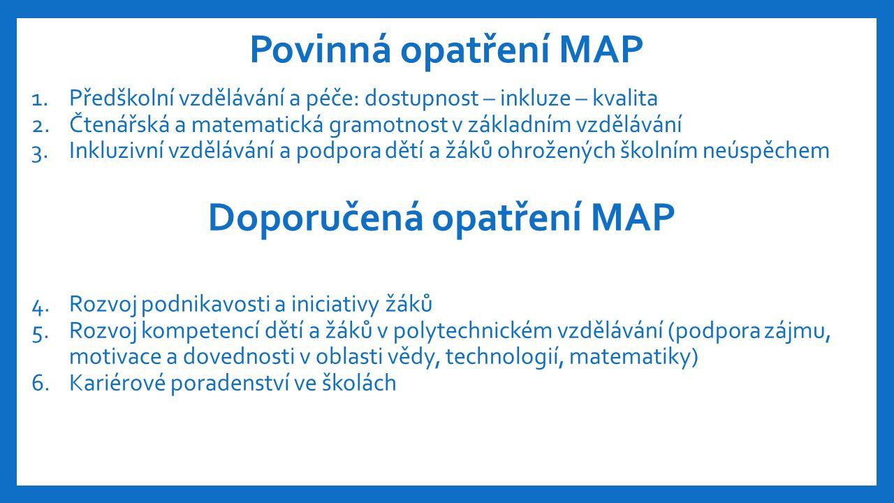 Povinná opatření MAP 1.Předškolní vzdělávání a péče: dostupnost – inkluze – kvalita 2.Čtenářská a matematická gramotnost v základním vzdělávání 3.Inkluzivní vzdělávání a podpora dětí a žáků ohrožených školním neúspěchem Doporučená opatření MAP 4.Rozvoj podnikavosti a iniciativy žáků 5.Rozvoj kompetencí dětí a žáků v polytechnickém vzdělávání (podpora zájmu, motivace a dovednosti v oblasti vědy, technologií, matematiky) 6.Kariérové poradenství ve školách