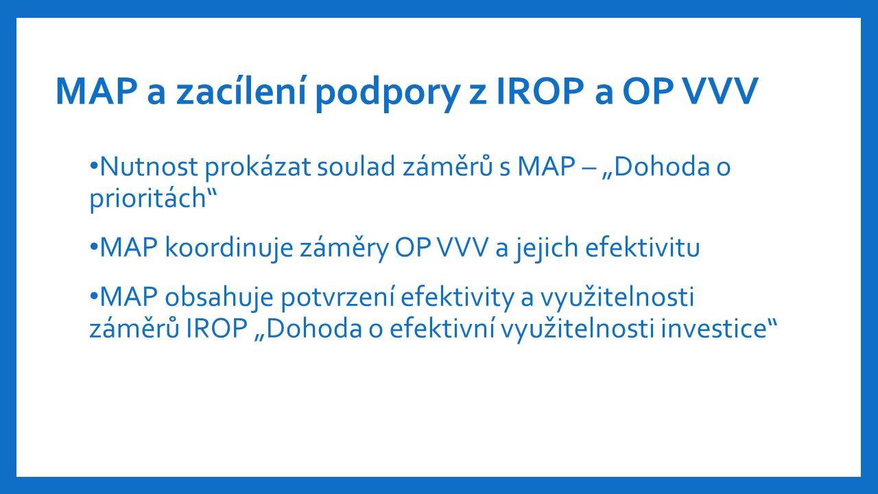"""MAP a zacílení podpory z IROP a OP VVV Nutnost prokázat soulad záměrů s MAP – """"Dohoda o prioritách MAP koordinuje záměry OP VVV a jejich efektivitu MAP obsahuje potvrzení efektivity a využitelnosti záměrů IROP """"Dohoda o efektivní využitelnosti investice"""