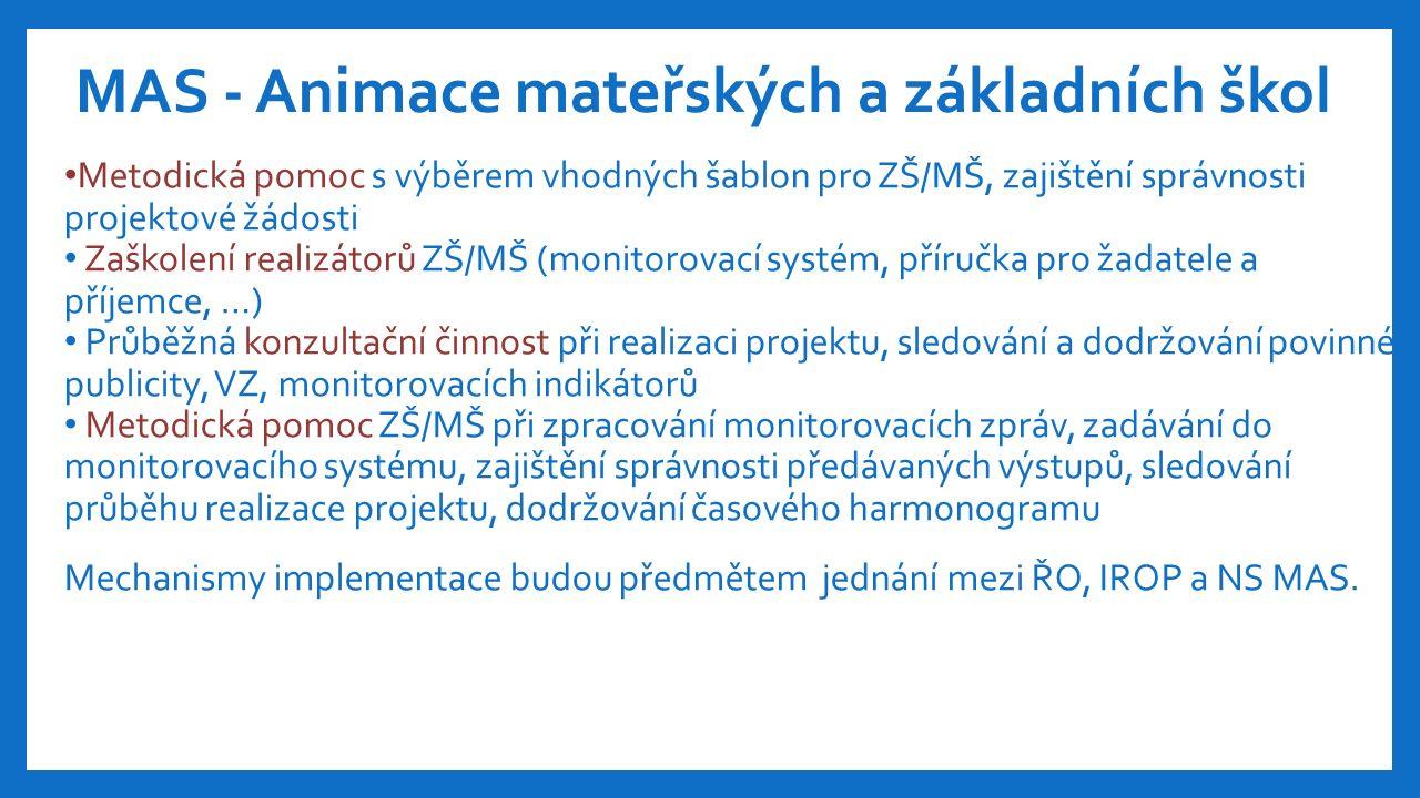 Metodická pomoc s výběrem vhodných šablon pro ZŠ/MŠ, zajištění správnosti projektové žádosti Zaškolení realizátorů ZŠ/MŠ (monitorovací systém, příručka pro žadatele a příjemce, …) Průběžná konzultační činnost při realizaci projektu, sledování a dodržování povinné publicity, VZ, monitorovacích indikátorů Metodická pomoc ZŠ/MŠ při zpracování monitorovacích zpráv, zadávání do monitorovacího systému, zajištění správnosti předávaných výstupů, sledování průběhu realizace projektu, dodržování časového harmonogramu Mechanismy implementace budou předmětem jednání mezi ŘO, IROP a NS MAS.