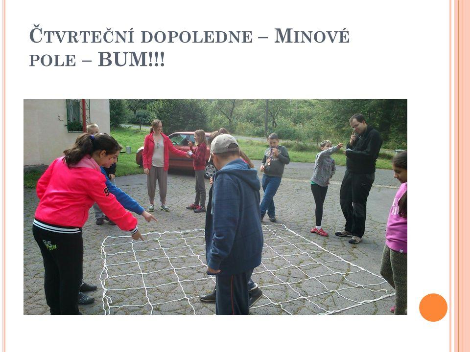 Č TVRTEČNÍ DOPOLEDNE – M INOVÉ POLE – BUM!!!