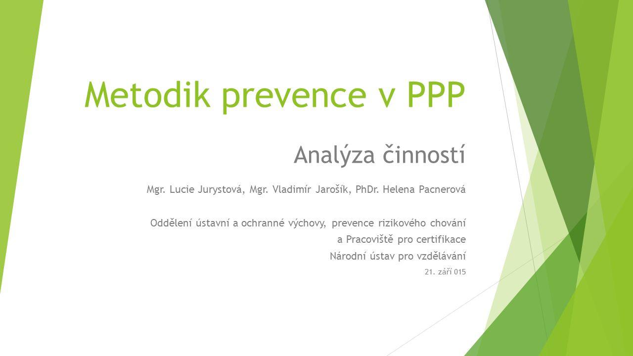 Metodik prevence v PPP Analýza činností Mgr. Lucie Jurystová, Mgr.