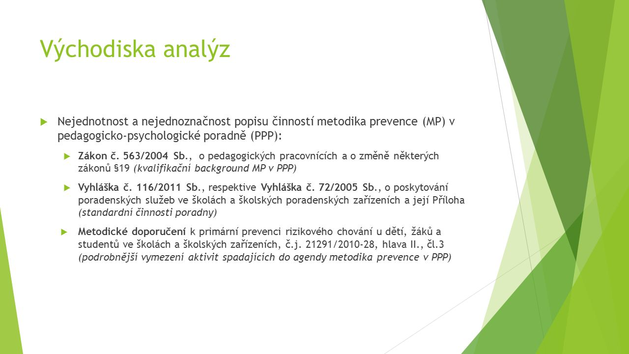 Východiska analýz  Nejednotnost a nejednoznačnost popisu činností metodika prevence (MP) v pedagogicko-psychologické poradně (PPP):  Zákon č.