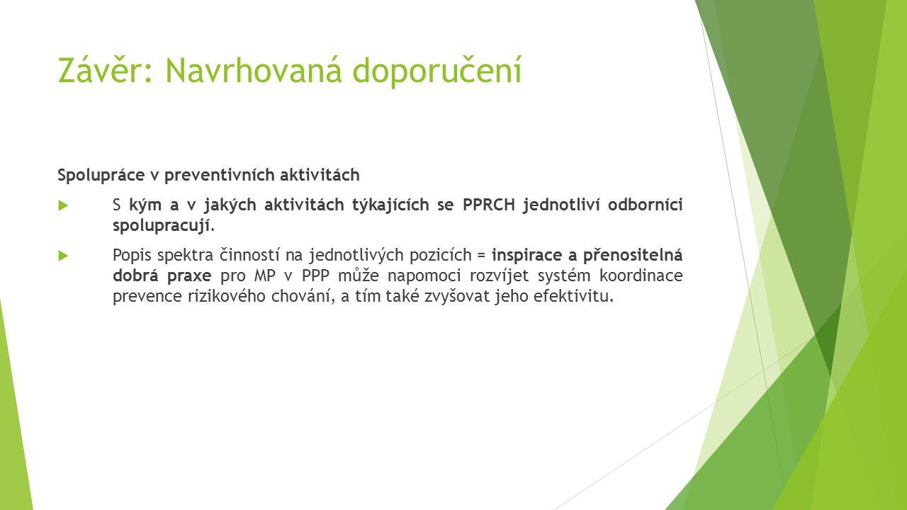Závěr: Navrhovaná doporučení Spolupráce v preventivních aktivitách  S kým a v jakých aktivitách týkajících se PPRCH jednotliví odborníci spolupracují.