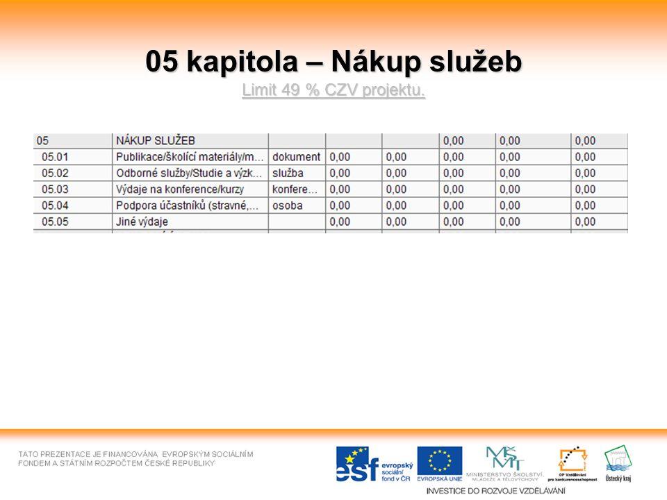 05 kapitola – Nákup služeb Limit 49 % CZV projektu.
