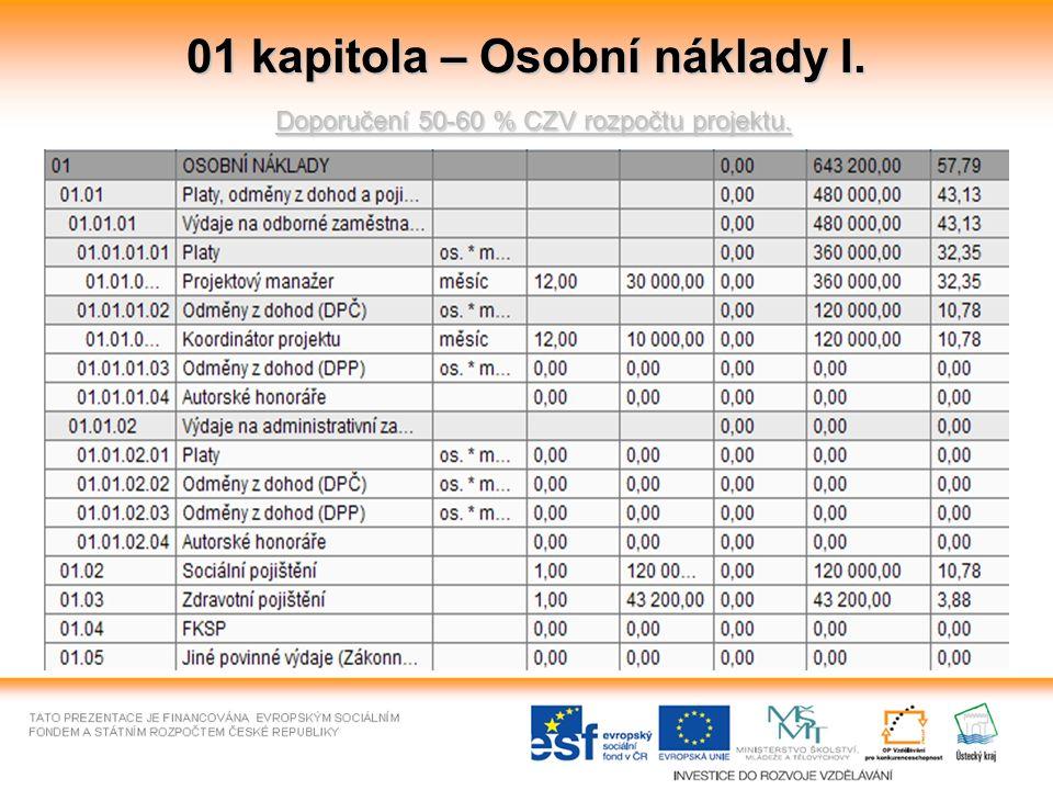 01 kapitola – Osobní náklady I. Doporučení 50-60 % CZV rozpočtu projektu.