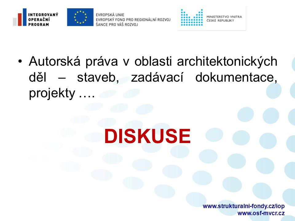 Autorská práva v oblasti architektonických děl – staveb, zadávací dokumentace, projekty ….