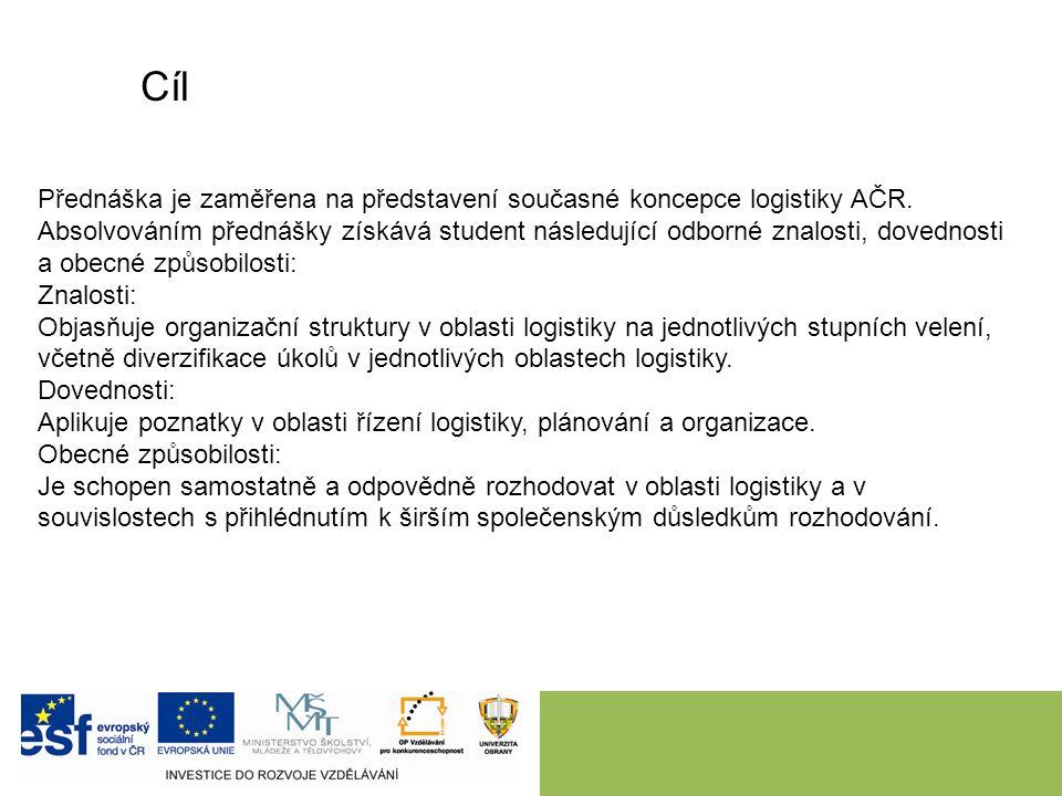 Cíl Přednáška je zaměřena na představení současné koncepce logistiky AČR. Absolvováním přednášky získává student následující odborné znalosti, dovedno