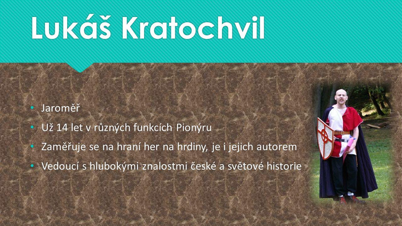 Lukáš Kratochvil Jaroměř Už 14 let v různých funkcích Pionýru Zaměřuje se na hraní her na hrdiny, je i jejich autorem Vedoucí s hlubokými znalostmi če